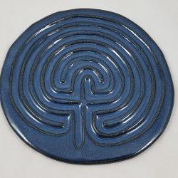 Celtic finger labyrinth in dark blue