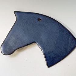 dark blue horse head ornament