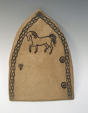 fairy door with Pancing Pony Pottery logo
