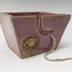 small sheep yarn bowl in purple