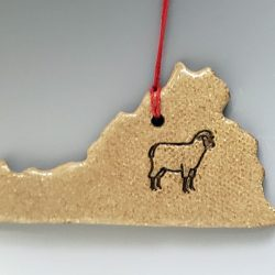 Virginia ornament featuring a sheep