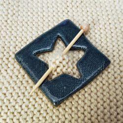 Dark blue square star shawl pin