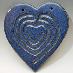 Heart finger labyrinth in chambray