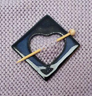 Dark blue shawl pin